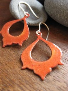 moroccan memoirs earrings  golden tumeric enamel by AThousandJoys, $54.00