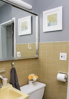 sharons bathroom before after good question revisited - Yellow Tile Bathroom Ideas