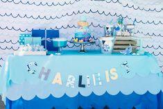 Nautical Ocean Birthday Party dessert table. Scallop backdrop. Blue and white.  #whale #ocean #nautical #birthdaypartyideas #desserttable