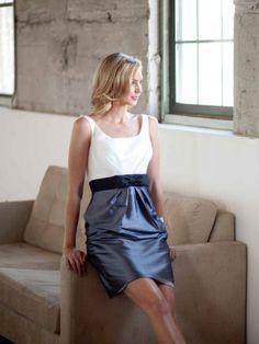 Straps Taffeta bridesmaid dress with Empire waist. Possibility depending on my choice of neckline.