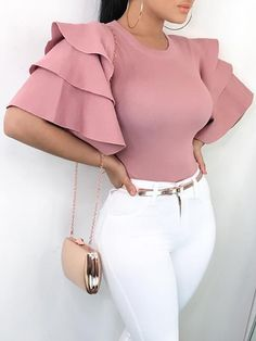 Shop Roundneck Ruffle Sleeve Blouses Casual Tops – Discover sexy women fashion at IVRose Classy Outfits, Chic Outfits, Trendy Outfits, Fashion Outfits, Fashion Tips, Sexy Outfits, Summer Outfits, Fashion Hacks, Fashion Clothes