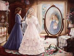 Through A Mother's Eyes by Paula Vaughan Maybe one day I'll stitch this for my daughter. Trisha Romance, Illustrations, Mother And Child, Mothers Love, Beautiful Paintings, Oeuvre D'art, Bunt, Vintage Art, Beautiful Pictures