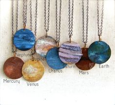 These are just beautiful!   Earth - Patinaed Copper - Patina Necklace - Planet, Solar System - Fall Fashion. $60.00, via Etsy.