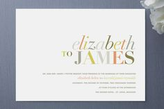This invite from Minted uses color and font to create a mood of sophistication and playfulness. The names are in a combination of the italic and all-capitals of a Modern-style typeface. These are characterized by a stark contrast between thick upright strokes and hairline serifs. This is paired with a bold sans-serif in small caps to suggest a copperplate in a streamlined way.