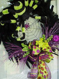 Halloween Wreath Black n Grn Spider Wreath Black by AnnieOjan
