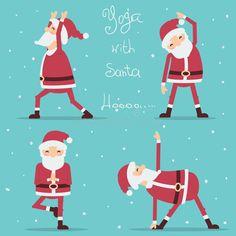 Santa Claus doing yoga. Illustration of card - 79418305 Santa Claus doing yoga. Yoga For All, Yoga For Kids, How To Do Yoga, Chico Yoga, Yoga Cartoon, Yoga Party, Yoga Illustration, Christmas Decals, Santa Crafts