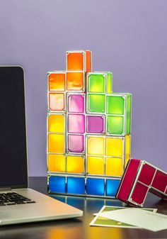 Building Blocks of Light | Add a ray of retro inspiration and a gleeful glow to your desktop or nightstand with this adjustable Tetris light set!