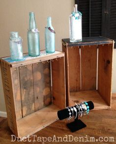 Vintage crates and bottles for jewelry display | DuctTapeAndDenim.com