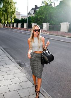 Crop top, pencil skirt, Givenchy bag and lace up heels