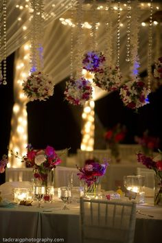 Reception with lights and sheer drapes, hang crystals and white orchids great look for a beach or a Hawaii themed wedding. Wedding Events, Our Wedding, Dream Wedding, Decor Wedding, Weddings, Wedding Reception, Hawaii Wedding, Destination Wedding, Purple Wedding