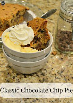 Chocolate Chip #Pie | http://sliceofsouthernpie.com | #dessert #chocolatechip