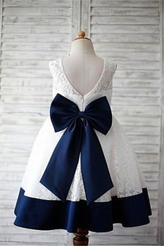 A-line Scoop Sleeveless Bowknot Floor-Length Lace Flower Girl Dresses With Navy Sash A-Line Wedding Dress, Ivory Wedding Dress, Navy Wedding Dress, Lace Party Dress, Sleeveless Wedding Dress Prom Dresses 2020 Princess Flower Girl Dresses, Tulle Flower Girl, Cheap Flower Girl Dresses, Little Girl Dresses, Tulle Flowers, Fashion Kids, Toddler Pageant Dresses, Vestidos Fashion, Fashion Dresses