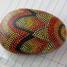 Golden Sunflower Hand Painted Dot Rock by JandEDesigns on Etsy, $30.00