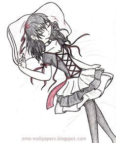 Cute Love Drawings   EMO DRAWING OF EMO GIRLS