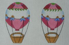 Hot Air Balloon, two sided ,hand painted, 18 count canvas
