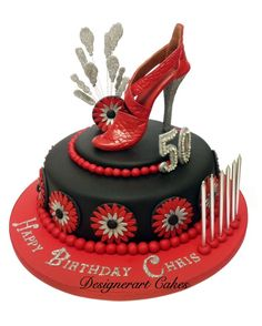 Red & Black one tier Designer 50th shoe cake