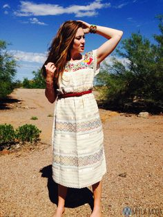The Chickadee Full Length Mexican Embroidered Dress Multi Color