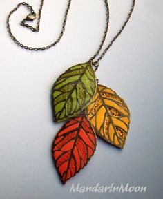 Falling Leaves Polymer Clay Necklace by MandarinMoon on DeviantArt