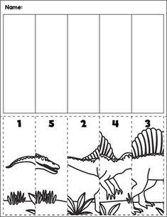 Dinosaur scene cut and order for numbers Package includes five no prep worksheets. Homeschool Worksheets, Daycare Curriculum, Preschool Special Education, Kindergarten Math Worksheets, Preschool Lessons, Preschool Learning, Kids Education, Preschool Crafts, Autism Activities