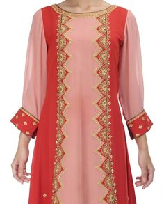 Peach and Red Suit with Golden Embroidery