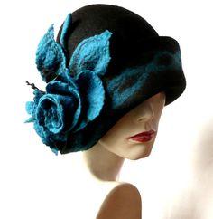 Black Felt Hat felted hat Cloche Hat 1920 Hat Art by Feltpoint