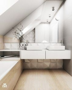 Don't be affraid to play with texture and geometric shapes in bathroom especially in bathroom in the attic Bathroom Niche, Attic Bathroom, White Bathroom, Bathroom Interior, Home Interior, Modern Bathroom, Master Bathroom, Large Bathrooms, Small Bathroom