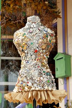 """Life size mannequin dress form loaded with jewels!  This beauty stands 59"""" tall.  Creatively constructed with a combination of golds and silvers.  1600.00"""