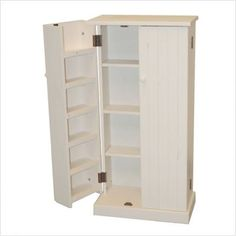 free standing pantry cabinets | Pine Utility Pantry in Weathered White Finish