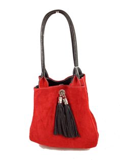 The Famke black leather red suede  This beautiful reversible bag is made in  Italy dbd361c4637d7