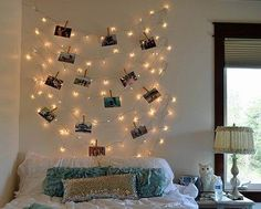 Using clothespins to hang pictures and Christmas lights. Might do this in my dorm room. If I can find Christmas lights Teenage Girl Bedrooms, Girls Bedroom, Bedroom Decor, Bedroom Ideas, Cozy Bedroom, Bedroom Wall, Master Bedroom, Dream Rooms, Dream Bedroom