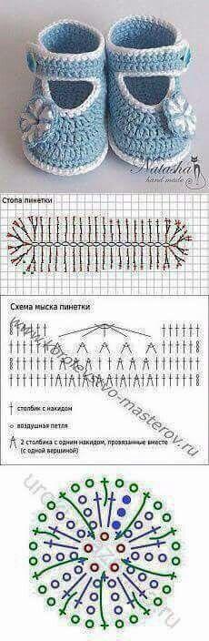 Botinha de crochê com grafico  | <br/>    Crochet