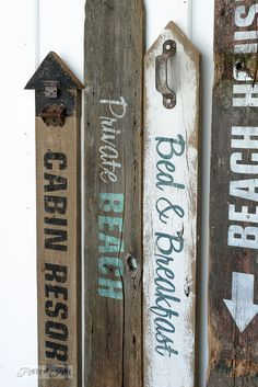 How to make rustic beach, lake and bed & breakfast signs with Funky Junk's Old Sign Stencils / funkyjunkinteriors.net