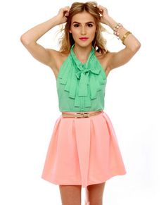 Mint Green Top and Peach Skirt