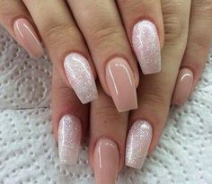 Don't care for the shape but I love the colors! Nudes & glitter square gel nails