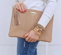 Rack It Up featuring GiGi New York on the blog | Sand Uber Clutch