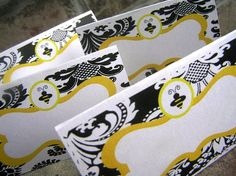 Perfect for the food if you carry the bee theme throughout the party. And if not, perfect for the dessert table! Yellow Party Decorations, Party Food Labels, Baby 1st Birthday, Birthday Ideas, Mommy To Bee, Bee Party, Food Tent, Tent Cards, Bee Theme