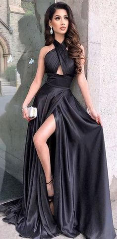 Black Long Modest Elegant Sexy Fashion Simple Prom Dresses af5c6f9a4d0c