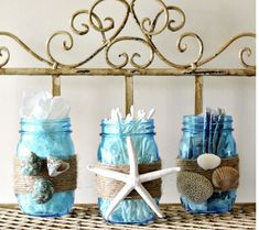 Beach decor ideas diy beach decor beach themed bathroom mason jar storage set craft on home decorating ideas Seashell Bathroom Decor, Beach Theme Bathroom, Beach Bathrooms, Diy Bathroom Decor, Bathroom Ideas, Bathroom Storage, Bathroom Towels, Bling Bathroom, Ikea Bathroom