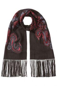 Etro Etro Bestickter Schal aus Kaschmir und Seide – Schwarz