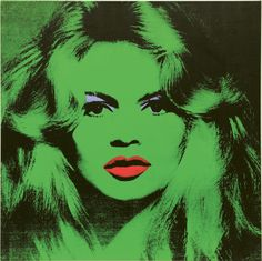 #AndyWarhol  Brigitte Bardot, 1974  Acrylic, silkscreen ink and pencil on linen, 47 1/4 x 47 1/4 inches