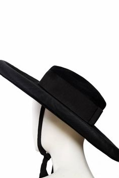 bf8083a5257 View this item and discover similar hats for sale at - A black Yves Saint  Laurent - Rive Gauche wide brimmed felt hat with a wide grosgrain bands and  a ...