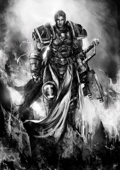 bolter chainsword imperium inquisition lazarus_quint monochrome muju
