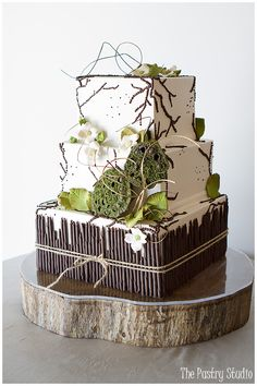 Organic} Shades of Green,Chocolate Brown and Khaki Wedding Cake by ...