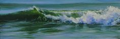 """""""Coming At You"""" *Oil* Image Size: 8""""x24"""" Gallery Wrap Canvas This painting was done from a photograph taken at New Smyrna Beach, FL. I stood in the ocean for hours on different days, feeling the wave action and watching.... besides taking many photographs. This is the fourth painting in my """"Waves"""" series. This painting is at Magnolia Gallery in Greensboro, GA. http://magnoliaartgallery.com/"""