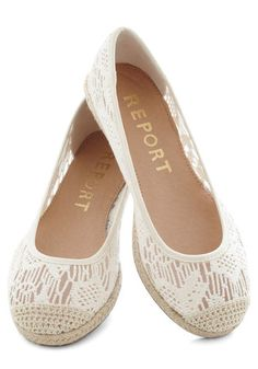 What a Breeze Flat - Low, Cream, Solid, Crochet, Espadrille, Casual, Daytime Party, Beach/Resort, Spring, Summer