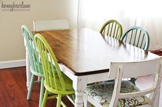 refinished table - fresh and cute with the chair mix