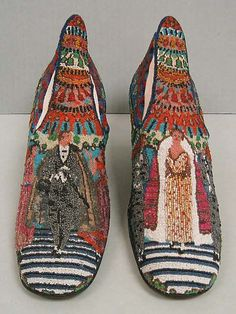 """1924 """"Le Bal"""" shoes designed by Paul Poiret and manufactured by André Perugia, Stamp: """"Perugia / BREVETE S.G.D.G. / PI-AVENUE NOTRE DAME-NICE"""" via MMA."""