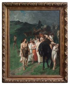 """19th C French Oil on canvas """"Return of the Raiding Party"""" by E V Luminais"""