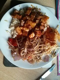 Dinner 7 Aug - sweet & sour pork, rice, egg foo yung. Made the sauce with 400ml strong sugar free orange squash, big dollop of tomato puree, cider vinegar, soy sauce and chilli flakes and thickened with 1tbsp of sauce flour. Had half so 1.5 syns