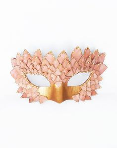 Pink & Gold Embellished Masquerade Mask by SOFFITTA